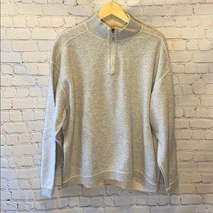 Tommy Bahama reversible quarter zip sweatshirt tan